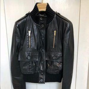 💯 Auth Madonna Gucci black genuine leather jacket